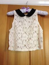 Absolutely beautiful Top shop cream Lace with Peter Pan black collar, Size 8