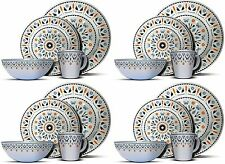 16PC Melamine Dinner Set Plates Bowls Mugs Kitchen Service 4 Family Dining Set