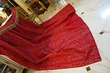 GORGEOUS ANTIQUE THICK SILK WOVEN BROCADE DRAPE CURTAIN PANEL WITH VALANCE