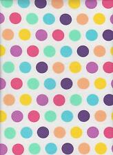 SPRING POLKA DOTS  on  WHITE  COTTON  LYCRA JERSEY KNIT- CUTE