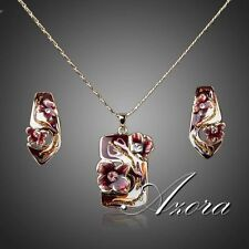 18K Gold Plated Dark Red Flower Oil Painting Pattern Stud Earrings Necklace Sets