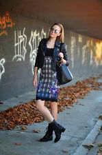 NEW ZARA COMBINED LACE FLORAL PRINTED TARTAN CHECK DRESS SZ M, BLOGS FAVE !!!