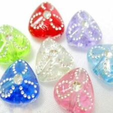 30 pieces 9x9x4mm Metal Enlaced Acrylic Plastic Triangle Beads - A5161