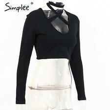 Sexy Women Front Cross Lace Up Halter Crop Top Black Cotton Long Sleeve Tees