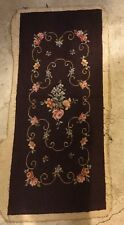 "Antique Vintage Victorian Floral Needlepoint 36"" X 15.5"""