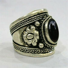 Big Adjustable Tibetan Silver Plated Oval Onyx Gemstone Carved Dorje Amulet Ring