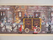 Framed Colorart Crewel CIRCUS COMES TO TOWN Folk Art by Mrs B. -JCA New 29 x 11