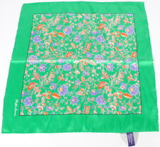 Ralph Lauren Purple Label Green & Floral Silk Pocket Square Italy $125 A3F