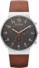 Skagen Ancher Chronograph Grey Dial Brown Leather Mens Watch SKW6099