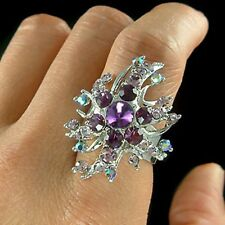 PURPLE w Swarovski Crystal Bridal Wedding ~STARBURST~ Party Adjustable Ring Xmas