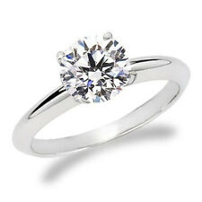 1.09CT WOMENS NATURAL WHITE ROUND CERTIFIED DIMAOND ENGAGEMENT RING 14K WG