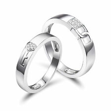 18ct White Gold Charming Engagement Lock Love Rings with Diamonds