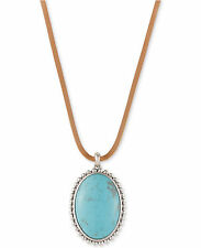 Lucky Brand Silver-Tone Leather Cord Large Blue Stone Pendant Necklace