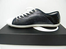 Moschino Men's Navy Black Denim Leather Sneakers Shoe Size US 12 EU 45 Italy