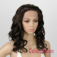 Hand Tied Lace Front Full Wigs Glueless Synthétique Perruque Brun Foncé 21#4