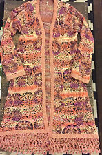 Free People long knit open cardigan sweater abstract floral boho tassels mod L
