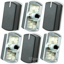 6 x Switch Knob for BELLING 444449565 444449566 Hob Oven Black Silver 083240900