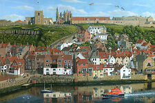 "Nuevo Original Richard harpum M.a ""Whitby Harbour North Yorkshire"" Pintura gótica"