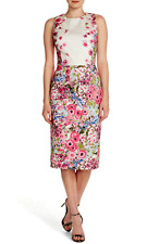 MAGGY LONDON Floral Print Stretch Cotton Midi Dress Pink Ivory Sz. 14- L