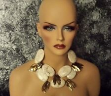 Big Bold Chunky White Turquoise Magnesite Brown MOP Statement Necklace SUMMER XL