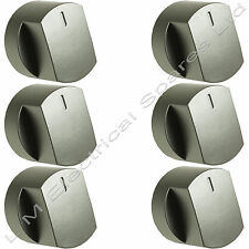 6 x Silver Oven Cooker Hob Control Knob Switch For Stoves 444445107 444445108