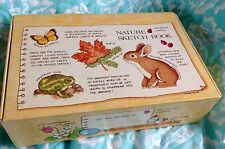 Vintage 80's 90's Nature Sketch Book Cardboard USA Pencil Case Box *WoW*