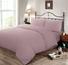 Plain Dyed Polycotton Duvet Cover Bed Linen Set - King - Rose