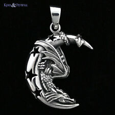 "Lisa Parker Sterling Silver Pendant: ""Moon Dragon"" with Stars"