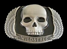 WILD AND FREE SKULL WINGS MOTORCYCLE RIDER BELT BUCKLE BOUCLE DE CEINTURE