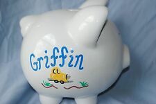 """Personalized """"GRIFFIN"""" Piggy Bank hand painted cars trucks white 8""""x7"""" design"""
