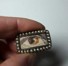 Antique Georgian Gold Lovers All Seeing Eye Seed Pearl Brooch Vintage Jewellery