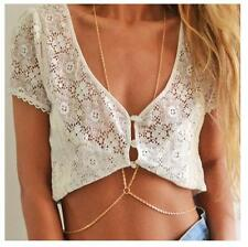 Gold Plated Necklace Beach Bikini Crossover Body Chain For Girl Jewelry BYCX04