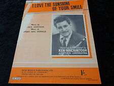 C1950s Sheet Music I love the sunshine of your smile broadcast by Ken Mackintosh