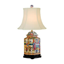 """Oriental Chinese Porcelain Rose Canton Scallop Ginger Jar Table Lamp 22"""""""