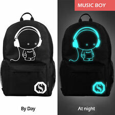 Night Luminous Canvas Backpack Boys&Girls Schoolbag for Outdoor Travel Teenagers