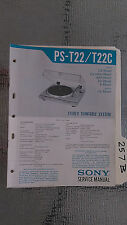 Sony ps-t22 c service manual original repair book stereo turntable record player