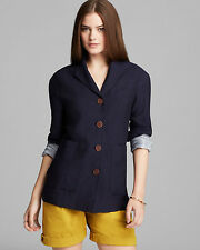 NWT BURBERRY WOMENS $750 LINEN BLAZER COAT JACKET SZ US 4 EU 38