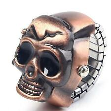 Mini Mens Womens Retro Finger Skull Ring Watch Unisex Cool Clamshell Watches