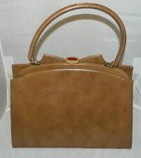 VTG KELLY Camel Leather Retro Purse Gold Metal Amber Lucite Closure