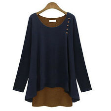 PLUS SIZE Women Ladies Asymmetry Hem Long Sleeve Blouse Loose Tunic T-Shirt Tops