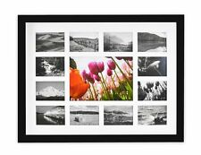 13-Opening 12x16 Collage Photo Wood Frame with White Mat & Real Glass, Black
