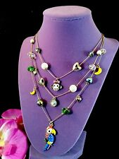 BETSEY JOHNSON RHINESTONE JUNGLE THEME MONKEY PARROT 3 STRAND CHARM NECKLACE