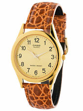 Casio MTP1093Q-9B Mens Brown Leather Gold Case Analog Casual Dress Watch