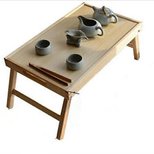 Wooden Folding Bed Tray Bamboo Breakfast Laptop Bed Tray Desk Tea Serving Table