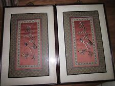 Pair of Qing dynasty-19th cent Framed Chinese Embroidered Silk Panels w/ Birds