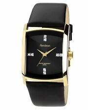 Armitron Mens Swarovski Crystal Gold Tone Black Dial Leather Watch 20/4604BKGPBK