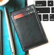 credit card holder / slim wallet / RFID blocking / black / genuine real leather