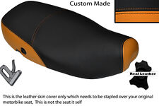 ORANGE & BLACK CUSTOM FITS PIAGGIO VESPA LX 125 DUAL LEATHER SEAT COVER