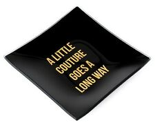 Juicy Couture BLACK VANITY TRAY Gold Ceramic Square Jewelry Dish Perfume GIFT