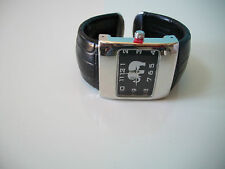 BLACK LEATHER BAND/ELEPHANT DIAL WOMEN'S CUFF BANGLE WATCH